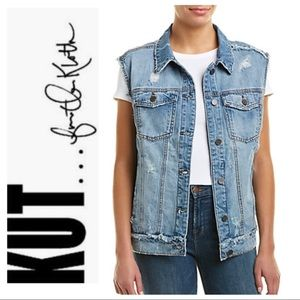 NEW KUT from The Cloth Oversized DISTRESSED VEST